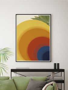 Retro Circles Abstract Print in a modern space