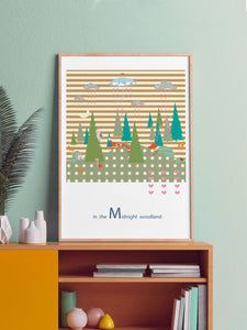 Midnight Woodland Forest Print in a frame on a shelf