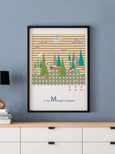 Midnight Woodland Forest Print in a frame on a wall