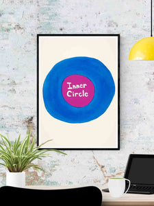 Inner Circle Quirky Print in a frame on a wall