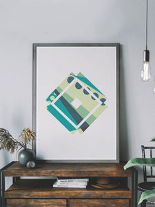 Insignia Geometric Poster Print on a shelf