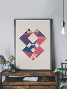 Geometric Art Poster on a shelf