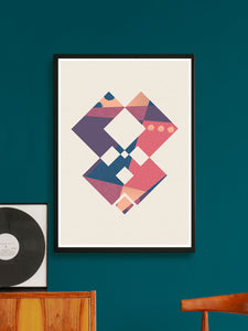 Invader Geometric Art Poster on a wall