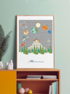 Written in the Stars Woodland Print in a frame on a shelf