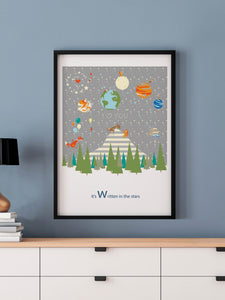 Written in the Stars Woodland Print in a frame on a wall