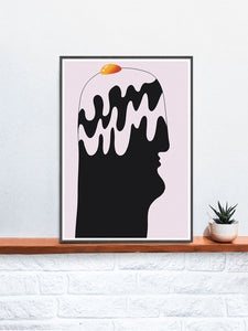 Jajo na Lbie Contemporary Print in a frame on a shelf