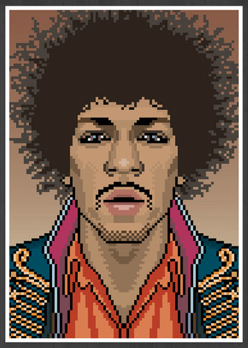 Jimi Music Icon Art Print in frame