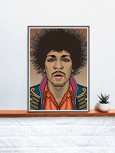 Jimi Music Icon Art Print in a frame on a shelf