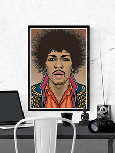 Jimi Music Icon Art Print in a frame on a wall