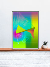 Load image into Gallery viewer, Jupiters Weather Glitch Art Print in a frame on a shelf