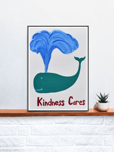 Kindness Cares Quirky Art Print on a Shelf