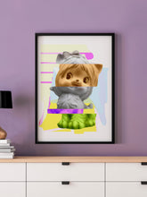 Load image into Gallery viewer, Kitty Splice 1 Cat Art Print in a frame on a wall