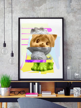 Load image into Gallery viewer, Kitty Splice 1 Cat Art Print in a frame on a shelf
