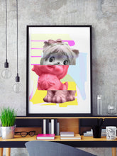 Load image into Gallery viewer, Kitty Splice 3 Cat Art Print in a frame on a shelf