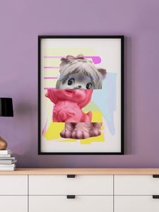 Kitty Splice 3 Cat Art Print in a frame on a wall