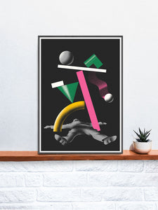 Ko 2 Contemporary Print in a frame on a shelf