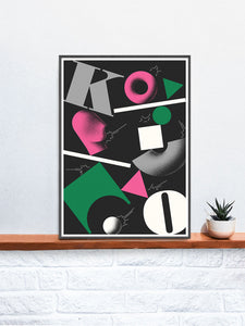Ko Contemporary Print in a frame on a shelf