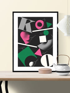Ko Contemporary Print in a frame on a wall