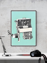 Load image into Gallery viewer, Kubrick 64 Collage Art Print in a frame on a wall