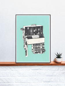 Kubrick 64 Collage Art Print in a frame on a shelf