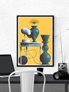 Lampa No Stole Contemporary Print in a frame on a wall