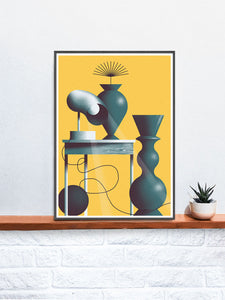 Lampa No Stole Contemporary Print in a frame on a shelf