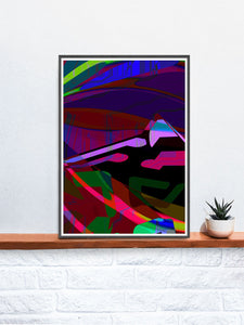 Landscape Audio Giclee Art Print in a frame on a shelf