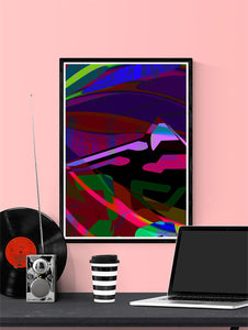 Landscape Audio Giclee Art Print in a frame on a wall