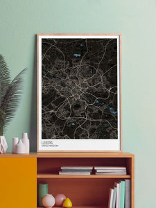 Leeds UK City Map Art in a frame on a shelf