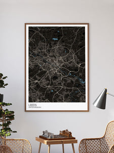 Leeds UK City Map Art not in a frame