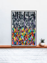Load image into Gallery viewer, Line Glitch 2 Abstract Pattern Print on a shelf