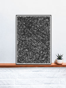 Line Glitch Abstract Pattern Print on a shelf