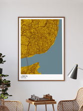 Load image into Gallery viewer, Lisbon City Map Wall Art in a frame on a wall