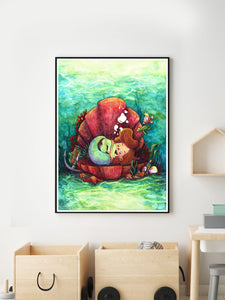 The Little-est Mermaid Art Print beautiful illustration in a kids room