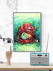 The Little-est Mermaid Art Print in a modern room above a desk