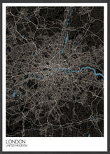 Load image into Gallery viewer, London City Map Black