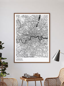 London City Map Drawing Print in a frame on a wall