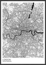 Load image into Gallery viewer, London City Map Drawing Print in a frame