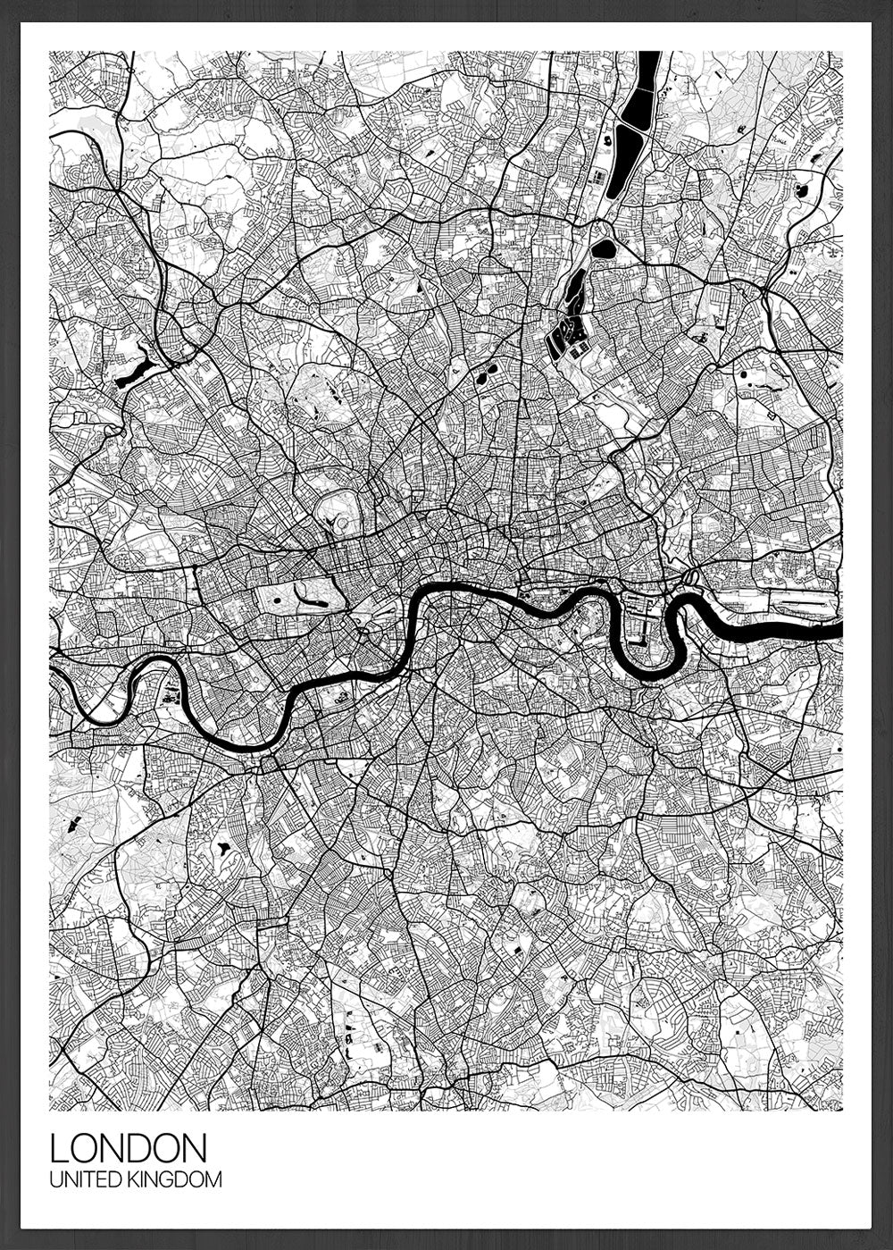 London City Map Drawing Print in a frame