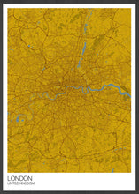 Load image into Gallery viewer, London City Map Mustard