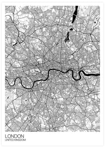 London City Map Drawing Print not in a frame