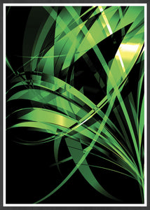 Macro Floral Green Abstract Art Print in frame