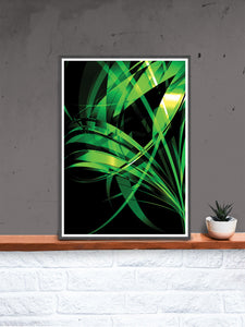 Macro Floral Green Abstract Art Print in a frame on a shelf