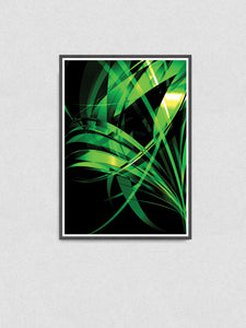 Macro Floral Green Abstract Art Print in a frame on a wall