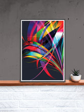 Load image into Gallery viewer, Macro Floral Vector Art Print in a frame on a shelf