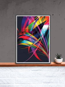 Macro Floral Vector Art Print in a frame on a shelf