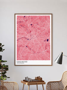 Manchester City Map Print in a frame on a wall