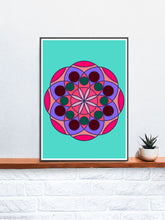 Load image into Gallery viewer, Mandala 1 Pink Mandala Art Print on a Shelf