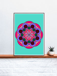 Mandala 1 Pink Mandala Art Print on a Shelf
