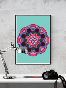 Mandala 1 Pink Mandala Art Print in a frame on a wall